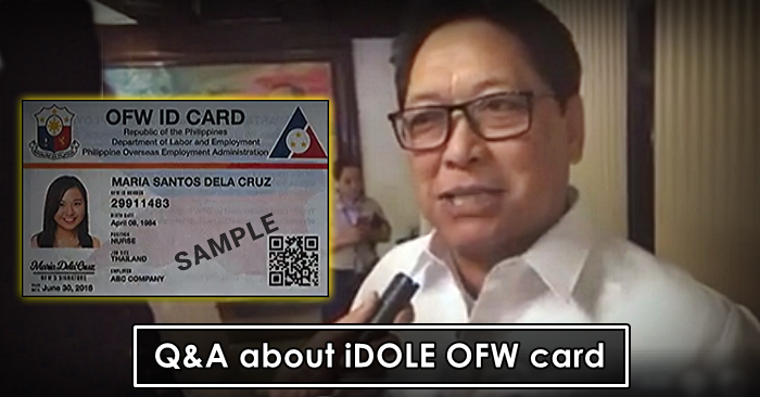 ofw idole card questions answers