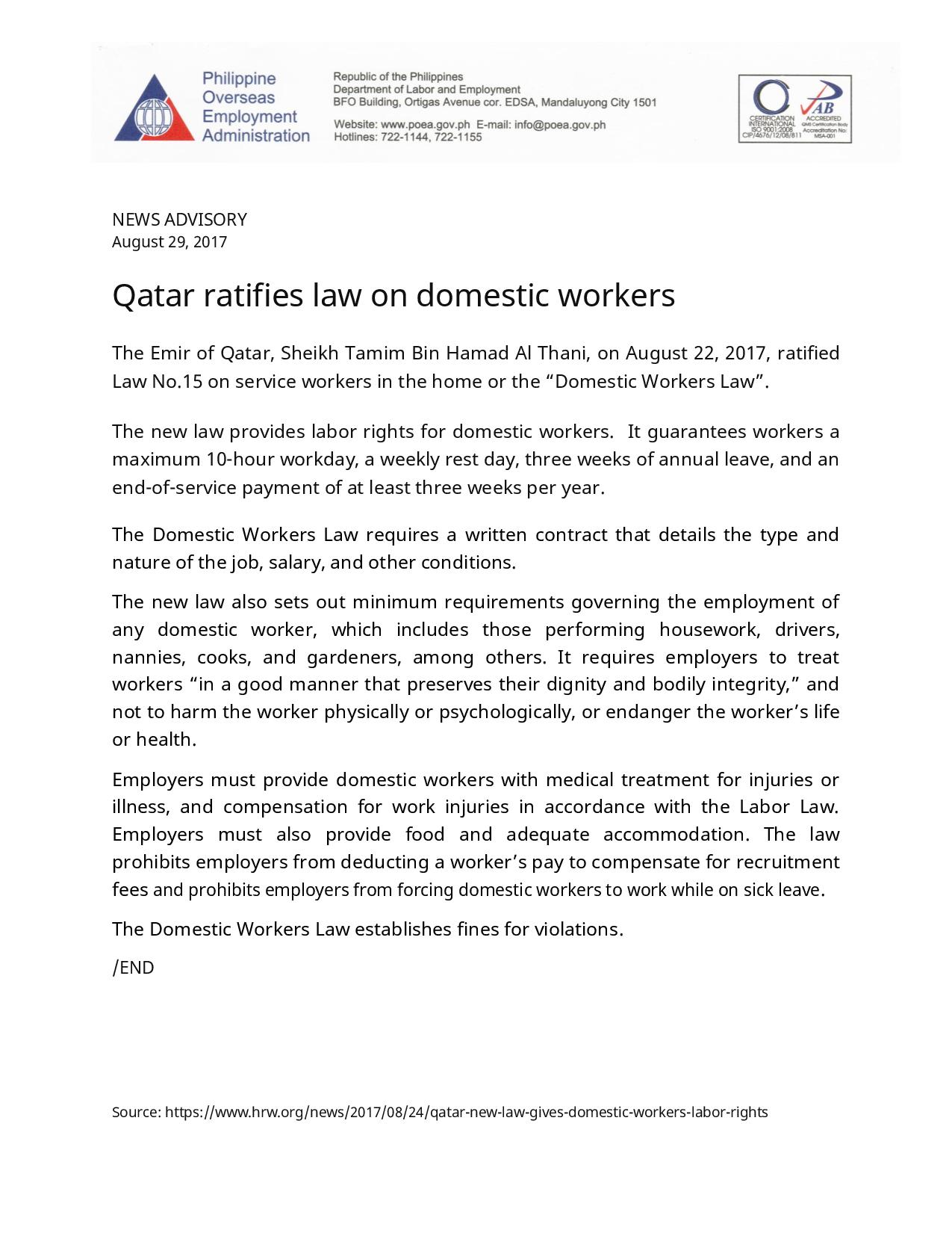Rights of a Domestic Helper in Qatar | The Pinoy OFW