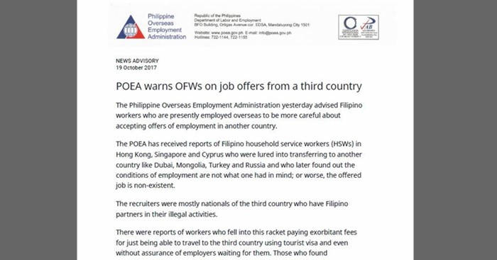POEA-Advisory-Job-Third-Country-Job-Offers