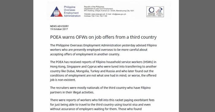 POEA-Advisory-Job-Third-Country-Job-Offers