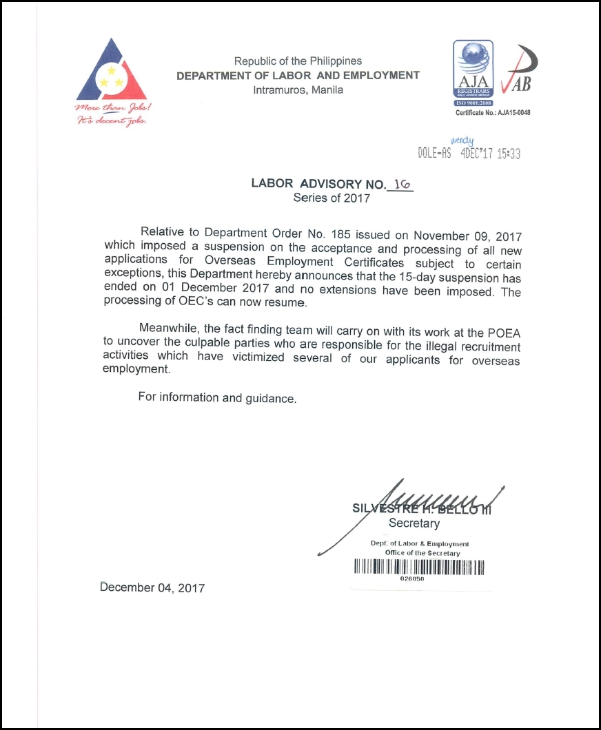 dole labor advisory oec suspension lifted