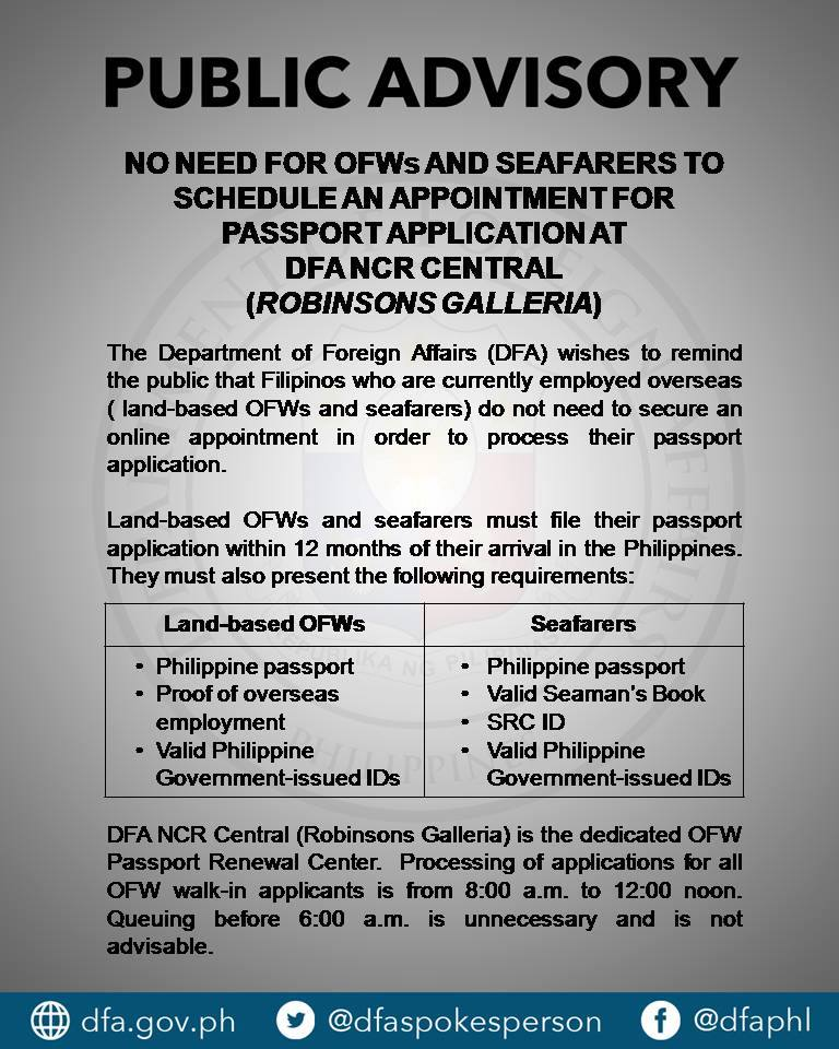 No More Online Appointments, OFWs Can Walk-in at DFA to Renew