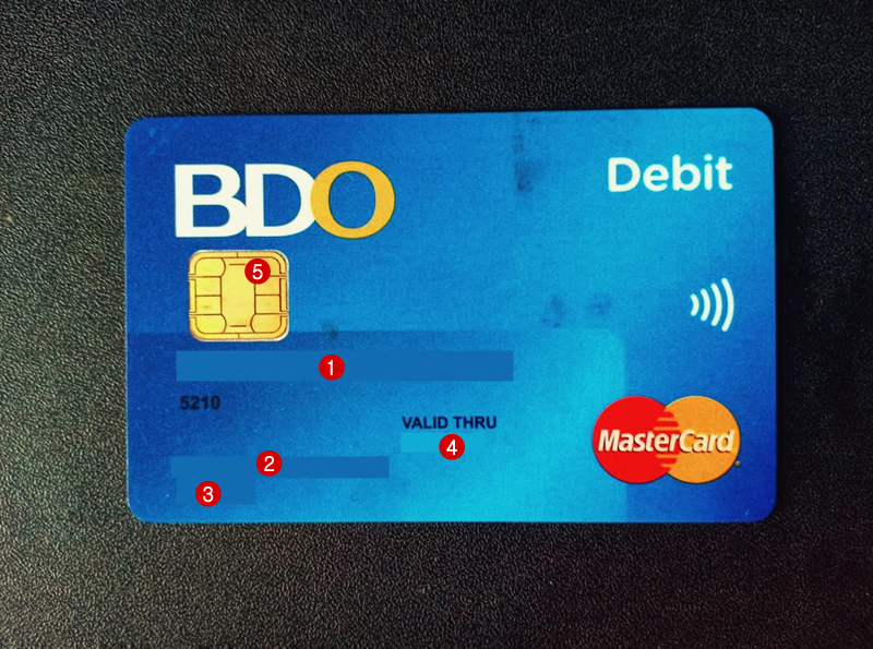 BDO ATM card labeled