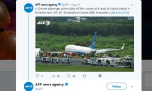 airplane skids off runway manila airport