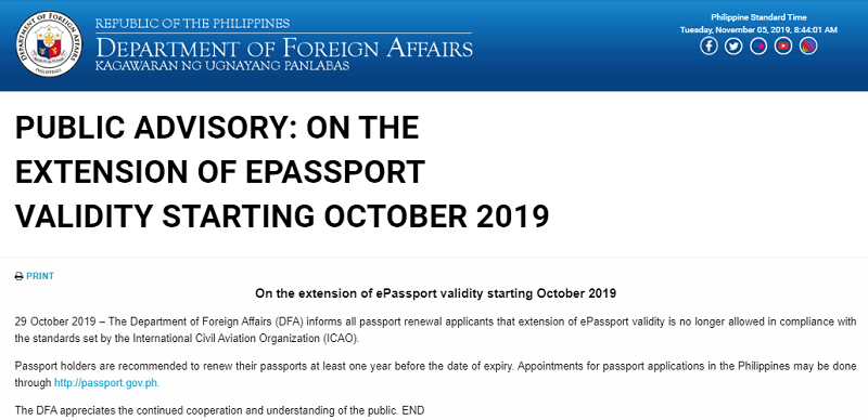 DFA Advisory Renew Passport 1 Year Before Expiry Date