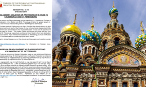 Filipino Tourists Warned Russian E-Visas Exclusive to Certain Cities Only