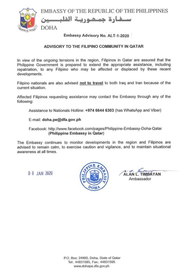 ph embassy advisory doha qatar