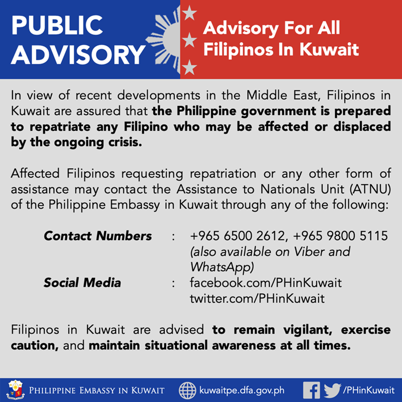 philippine advisory embassy filipinos in kuwait