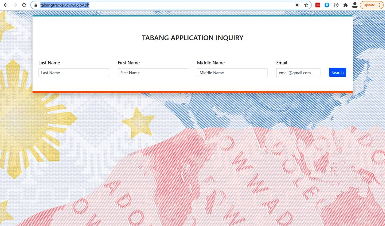 Tabang OFW Application inquiry