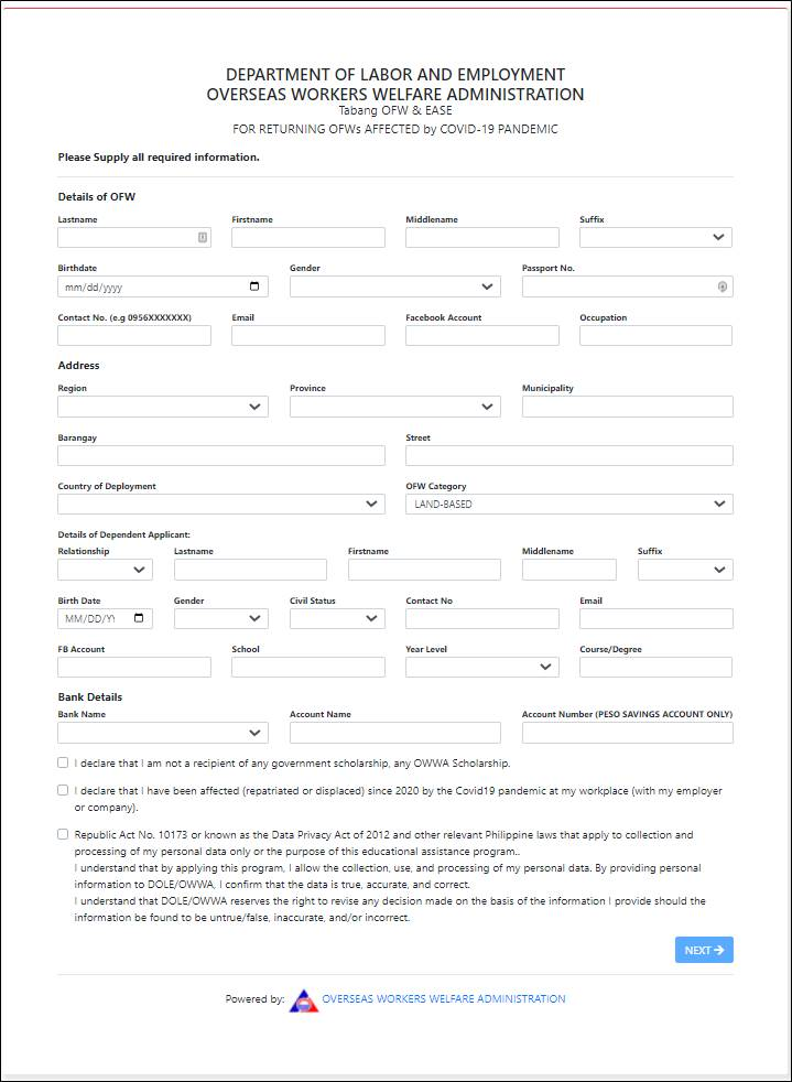 owwa project ease application form